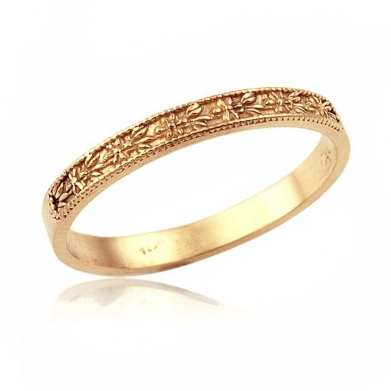 14K Gold Classic Floral Engraved Wedding Band Gold Wedding