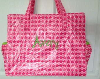 Personalized diaper bag pink green trim