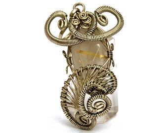 Wire Wrap Pendant, Rutilated Quartz Pendant, Steampunk Pendant, Silver Gothic Pendant, Gemstone Pendant, Handmade Pendant, Necklace Pendant