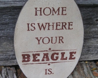 Primitive Sign - Home Is Where Your Beagle Is or Beagles Are - Several Colors Available