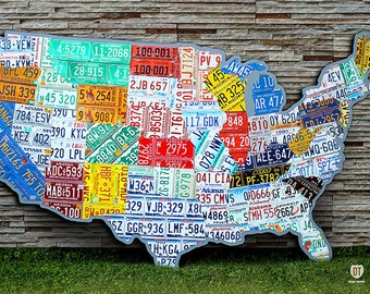 HUGE United States License Plate Map - 10 Feet Wide - USA Vintage Travel Novelty Artwork
