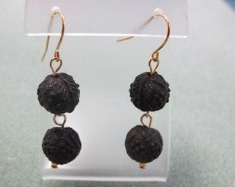 Genuine Vulcanite Drop Earrings, Gold-Plated Earwires, Civil War Appropriate - Affordable Elegance