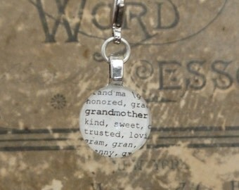 Grandmother Charm, Dictionary for Bookmark Keychain Necklace Bracelet by Kristin Victoria Designs