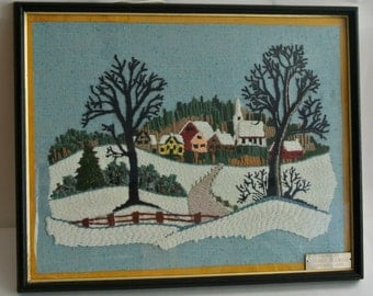 "SALE-Retro-""Crewel"" Winter Village Scene-Signed by Artist George Blondin"