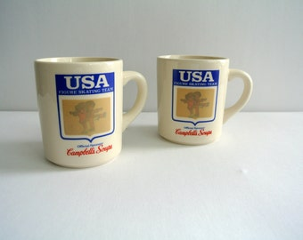 Retro Campbell Soup U.S.A. Figure Skating Mugs-Set of 2-Heat activated