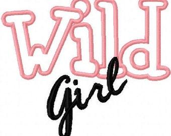 Wild Girl Embroidery Machine Applique Design 10362