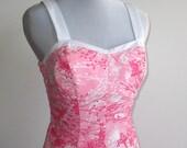 Vintage 60s Ceeb of Miami Pink Floral Summer Picnic Sun Dress