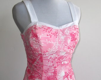 Vintage 60s Ceeb of Miami Pink Floral Summer Picnic Sun Dress