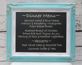 "CHALKBOARDS FOR WEDDINGS 27""x23"" Summer Wedding Country Wedding Decor Robin's Egg Blue Chalkboard Shabby Chic Kitchen Magnetic Blackboard"