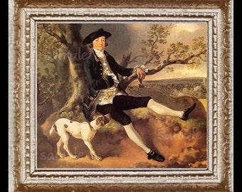 1700's Gentleman With Dog Miniature Dollhouse Art Picture 6751