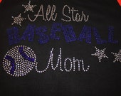 Blingy BASEBALL MOM Tee or Tank--Can be customized with your team name and colors