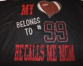 My heart belongs to a football player, Custom Football Bling Shirt, Football Mom Shirt, Football Mom Bling, Football bling, Football Shirt