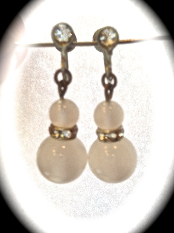 Summer white,  frosted crystal, screw back earrings