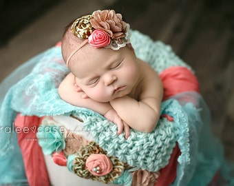 Shelley- ruffle rosette, chiffon and lace headband  and maternity bucket wrap sash set in coral tan and seafoam