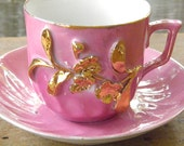 Vintage Pink and Gold German Lustreware Cup and Saucer