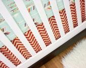 Arrow Cribset, Modern Baby Bedding, Crib Bedding, Bumperless Coral Mint Aqua Chevron Arrows
