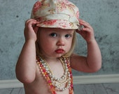 Toddler girl hat baby girl hat girls floral hat fabric hat for baby girls pink coral vintage inspired girls hat - Edith