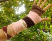 Fingerless commuter gloves, texting mitts, gauntlets, arm warmers, upcycled, eco sensitive, recycled sweater in Pink and Brown