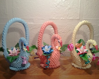 3D origami Swan Basket with Flowers