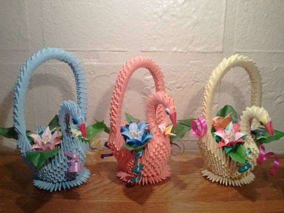3D origami Swan Basket with Flowers - photo#30