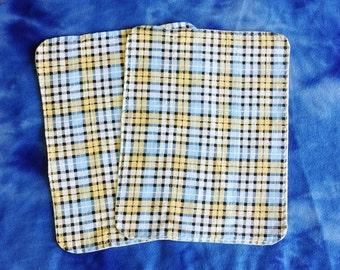 Blue Plaid Burp Cloths - Set of 2