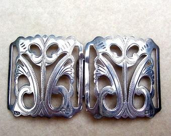 Art Nouveau belt buckle sterling silver nurse's buckle sash buckle Victorian buckle 1909 (23)