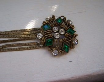 Very Unusual Antique Victorian Rhinestone Multi Chain gold Bracelet