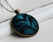 Metallic Lace Necklace, Black Art Deco Necklace, Black and Teal Jewelry Black Lace Jewelry Goth Necklace Teal Pendant