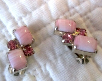 Vintage Variegated & Pink Crystal Clip Earrings