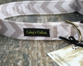 "Dog Collar ""The Chevron in Grey"" Trendy Grey Chevron Dog Collar"