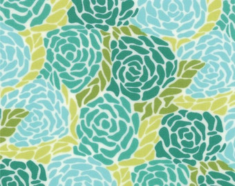 REMNANT! Mosiac  (Large Floral) in Brook (Turquoise and Chartruese) from the Chantilly Collection, by Moda, 5/8 yard
