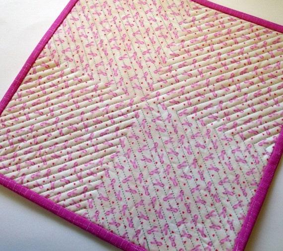 Pink Ribbon Mug Rug Breast Cancer Awareness By Atthebrightspot