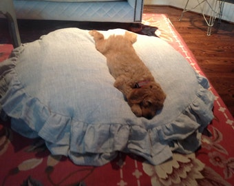 Washed Linen Round Ruffled Pet Bed Slipcover-Slipcover for your Round Pet Bed-Washable Pet Bed Cover