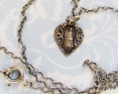 Sweet Valentine! Vintage French Sterling Silver Heart Pendant 'Our Lady of Good Help' Necklace Mother Mary