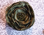Party Perfect - Holiday Olive Green Satin Flower Hair Clip with Sparkly Green Crystal  Center