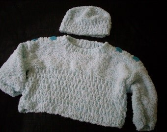 Hand knit boy or girl turquoise and white pullover and hat