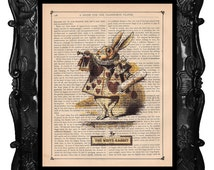 White RABBIT Alice in Wonderland art print , RABBIT art print - Alice white RABBIT poster art nursery wall décor white rabbit art