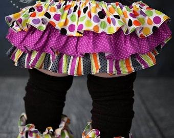 Purple black orange lime polka dot stripe bloomers diaper cover for baby newborn infant toddler girl