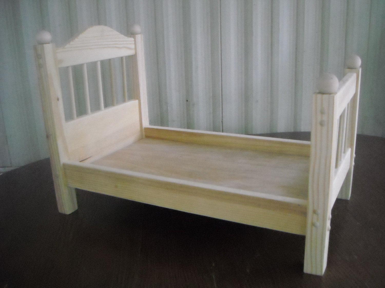 Marvelous photograph of Handmade Spindle Doll Bed for 18 inch doll by admwoodcrafts with #7D704D color and 1500x1125 pixels