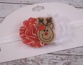 SALE Reindeer Headband with Red and White Shabby Flowers, size infant to toddler, Christmas Headband