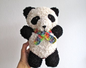 Panda, teddy bear, organic, cuddly, soft, plush, plushie, eco friendly, black and white, baby, toddler, shower gift