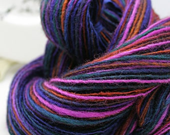 Handspun Yarn Gently Thick and Thin DK Single Blue Faced Leicester 'Spring Eclipse'