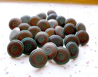 Vintage Metal Buttons, Southwest Style, 14mm,  Copper with Patina Green finish,  Copper Metal Buttons,  Metal shanks,  RARE,  10 in Lot
