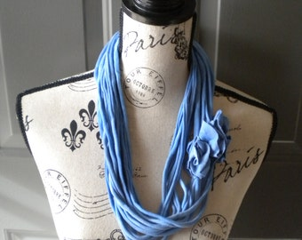 Jersey Scarf Necklace with Rosettes in Blue