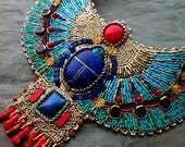 Turquoise and Coral - CUSTOM ORDER - Egyptian Scarab Necklace, Lapis, Coral, Gold Plate, Glass, Bead Embroidered Collar Necklace