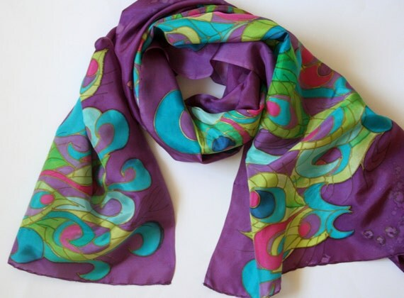 Peacock Wrap. Peacock Scarf. Art Nouveau Peacock. Sarong. Purple Wrap. Hand Painted Silk Wrap. Perfect Wrap.