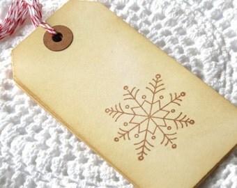 CIJ SALE Snowflake Handstamped Tags 6pcs