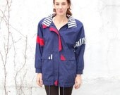 SALE!!!!!!! Navy and red nautical sport jacket 1990s 90s VINTAGE