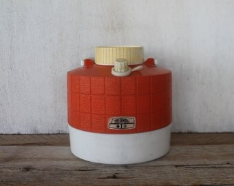 Vintage Bright Orange & White Thermos Picnic Jug