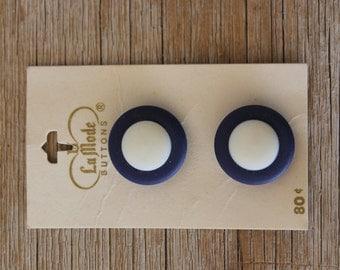 Vintage La Mode Buttons, Navy Blue & White